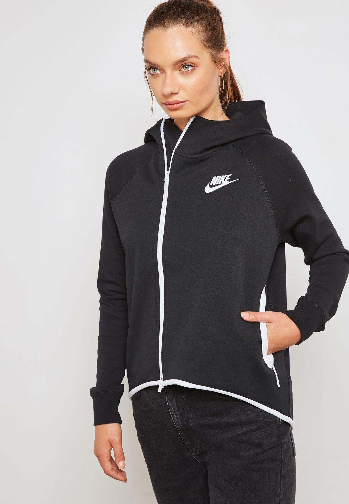 7424ba5409f6 Shop Nike black Tech Fleece Cape Hoodie 930757-011 for Women in UAE ...