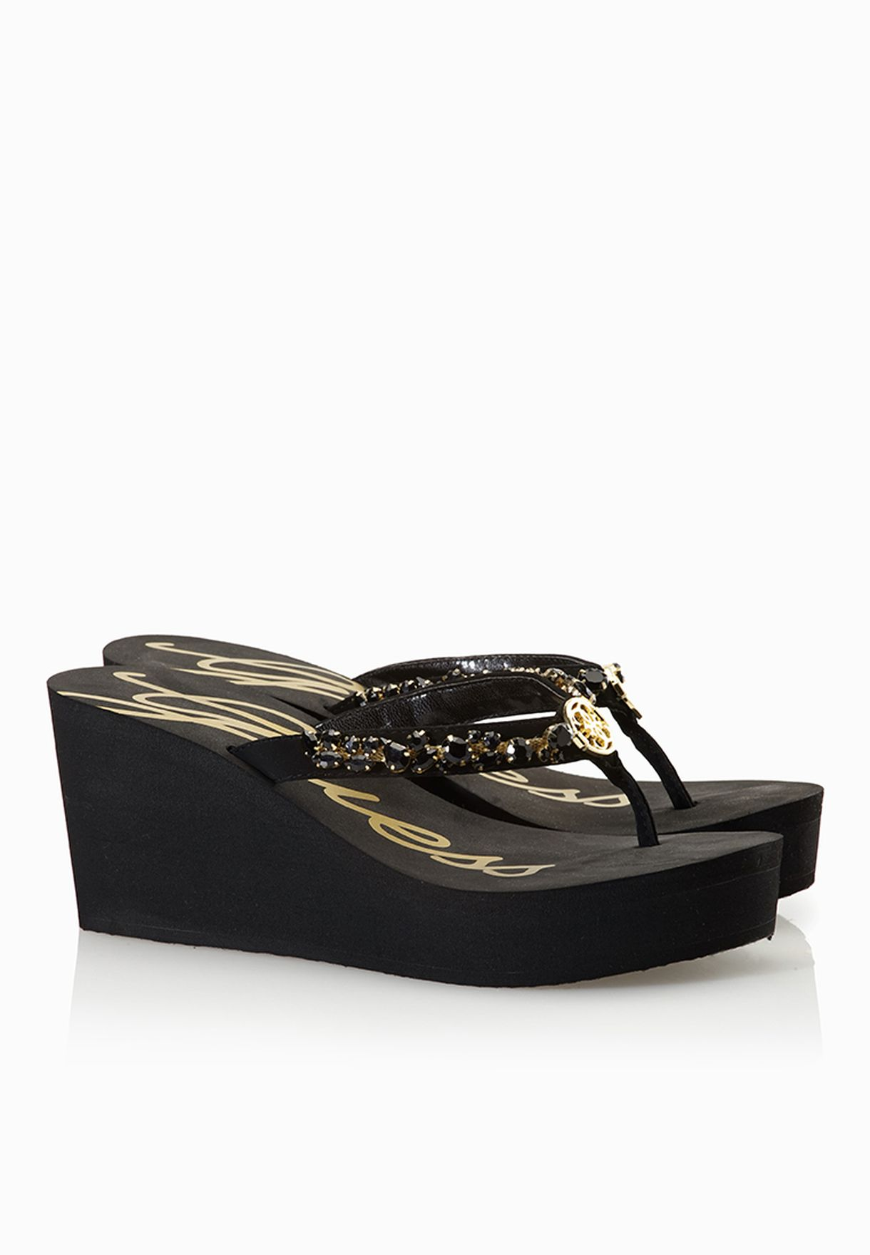 83d2b5bbd Shop Guess black Jewelled Sandals gwSABELL-B for Women in Oman ...