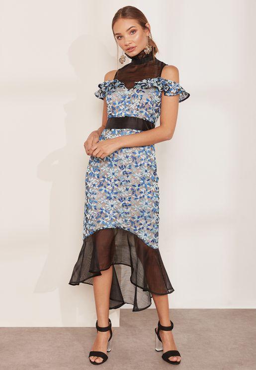 Juliet High Neck Cold Shoulder Contrast Tulle Dress
