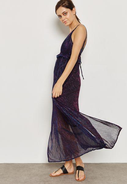 Plunge Neck Mesh Cami Dress