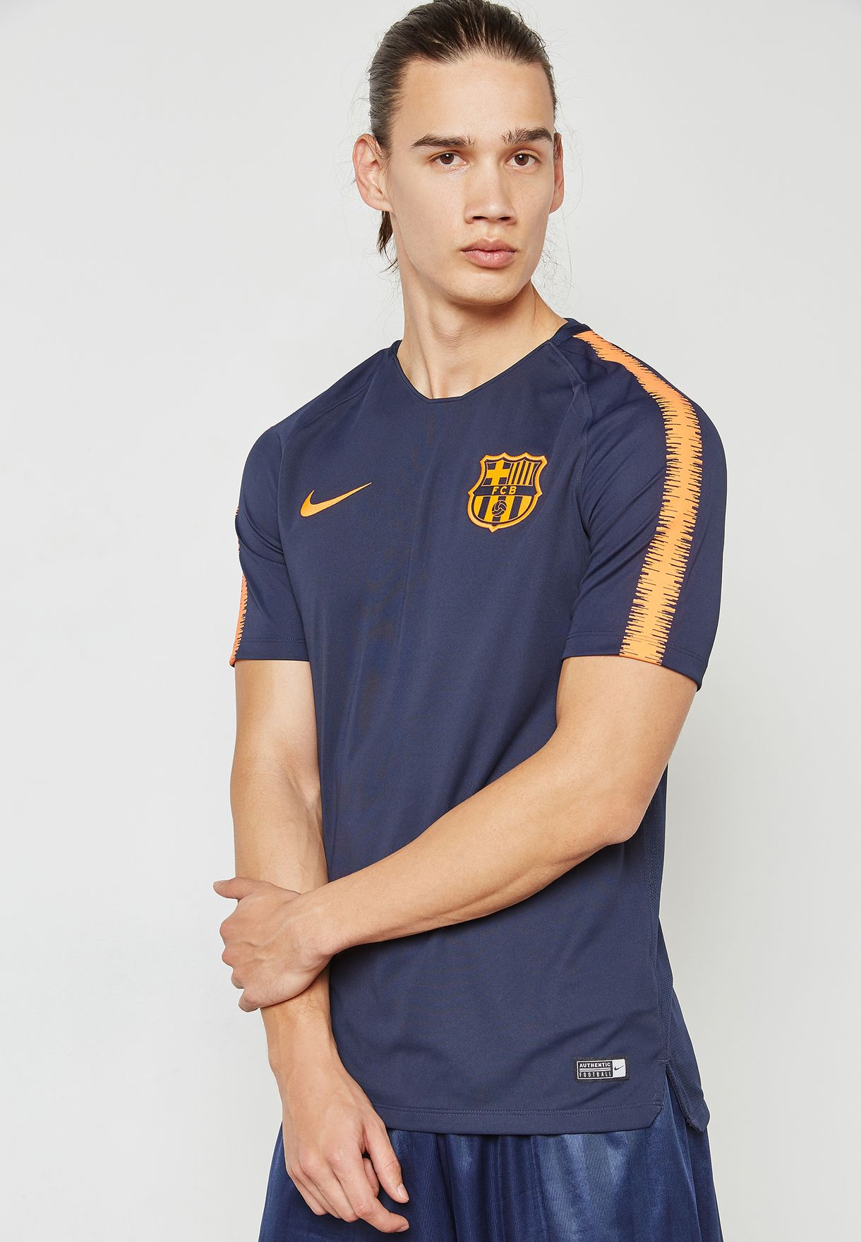b0cdc7fc15ac Shop Nike navy FC Barcelona Breathe Squad T-Shirt 943178-452 for Men ...