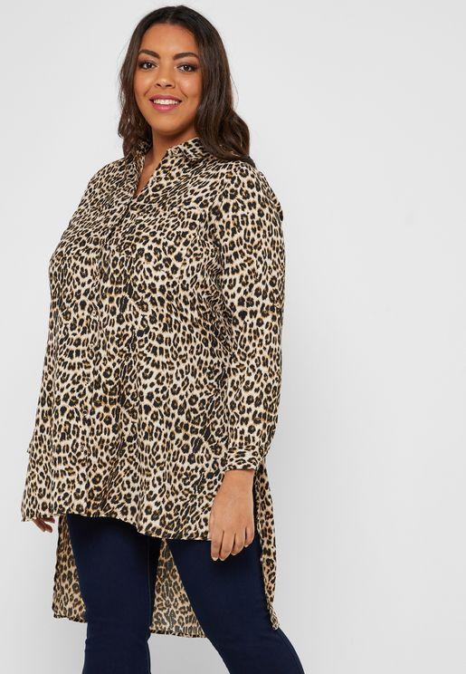 Leopard Print Long Back Belted Shirt