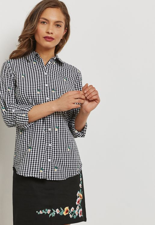Gingham Checked Embroidered Shirt