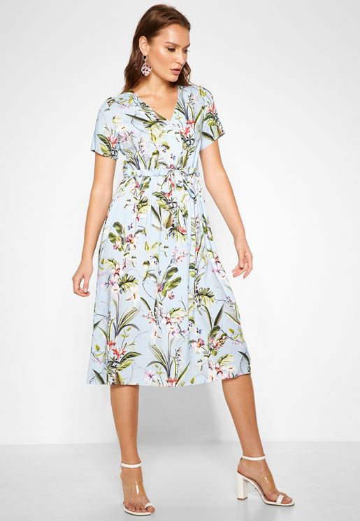 Tie Waist Floral Print Wrap Dress