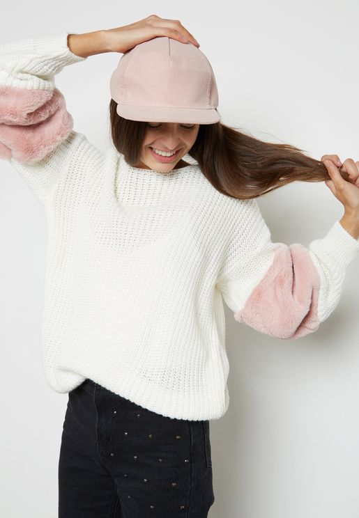 Contrast Sleeve Fluffy Sweater