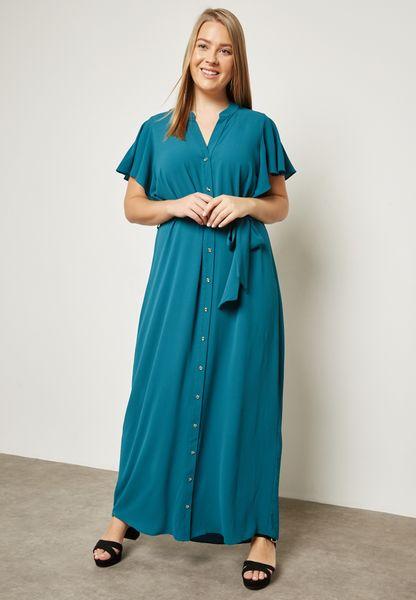 Ruffle Detail Shirt Dress
