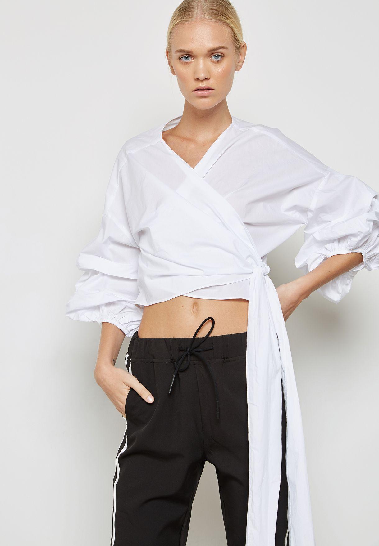 40eca9888b1eee Shop Plain Studios white Front Tie Crop Top PLT3CORE for Women in Saudi -  PL398AT47SPC