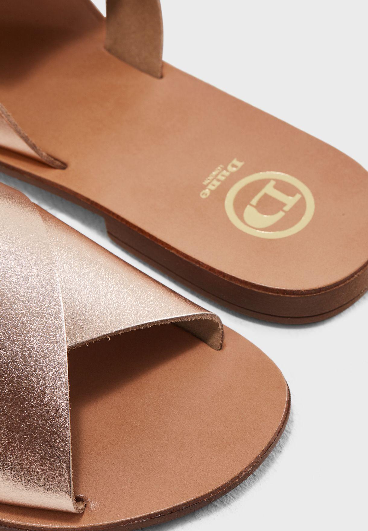 45d738fc8f3f Shop Dune London gold Loveable Di Cross Strap Sandals 79506840021103 ...