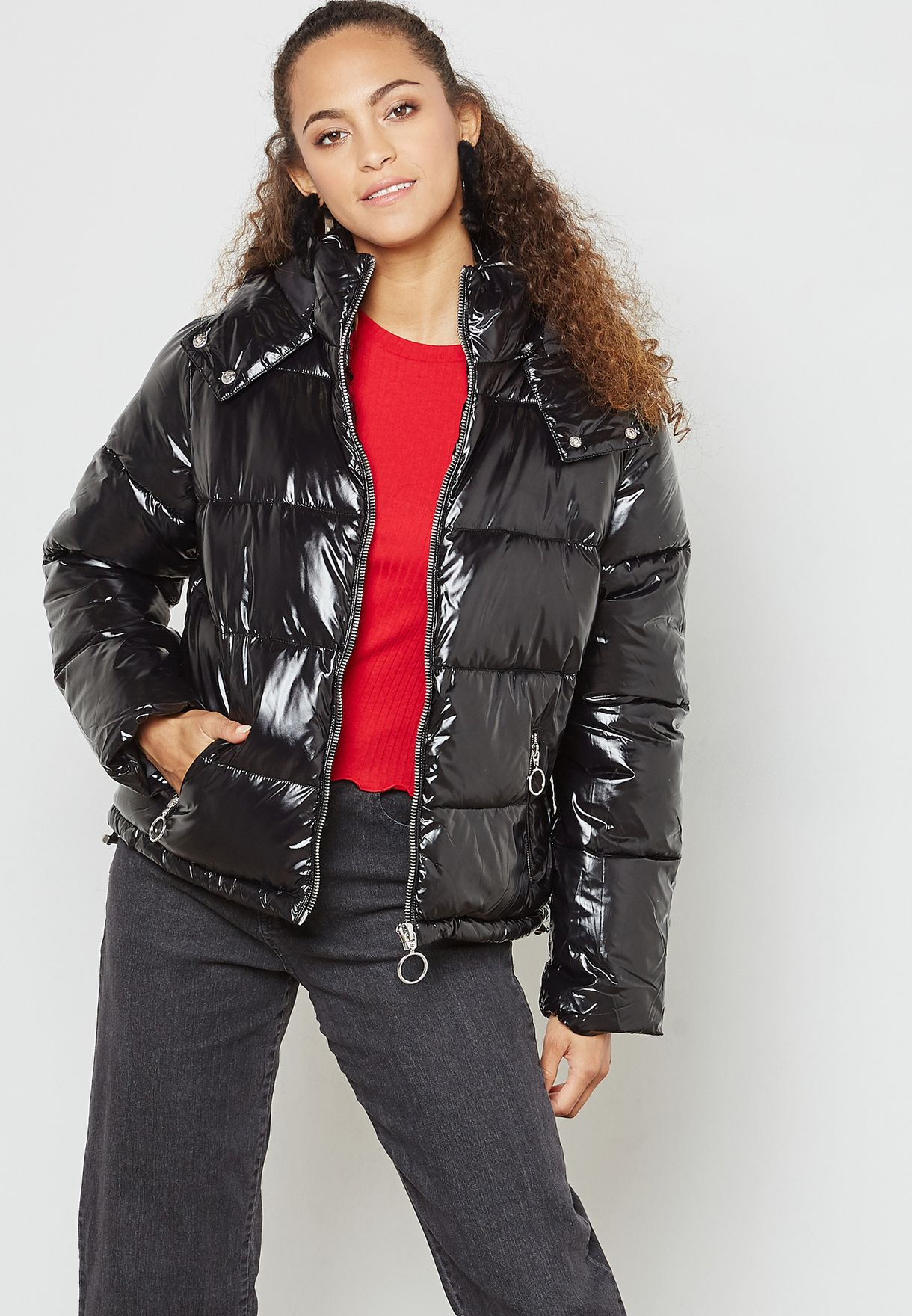 78ded82e7f6 Miss Selfridge Women 23p30vblk Puffer For Shop Black Jacket Quilted  fdx8wdqz5
