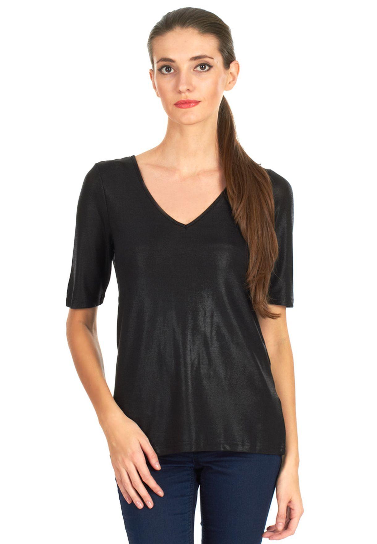 cc52be6cd8873 Shop Vero Moda black Tita Vneck Top Fi for Women in UAE - VE758AT47NPW