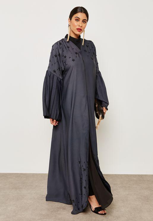 Embellished Pleated Sleeves Abaya