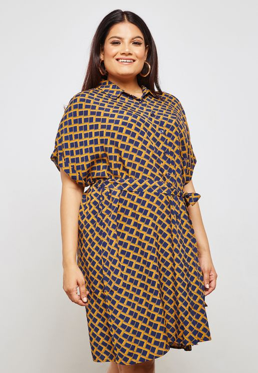 Geometric Print Belted Shift Dress