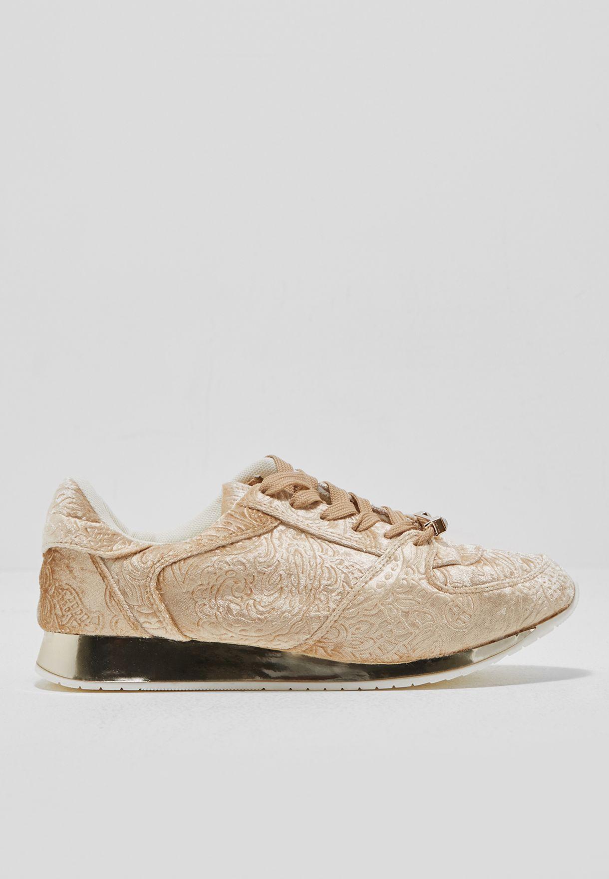 Velvet low top sneakers