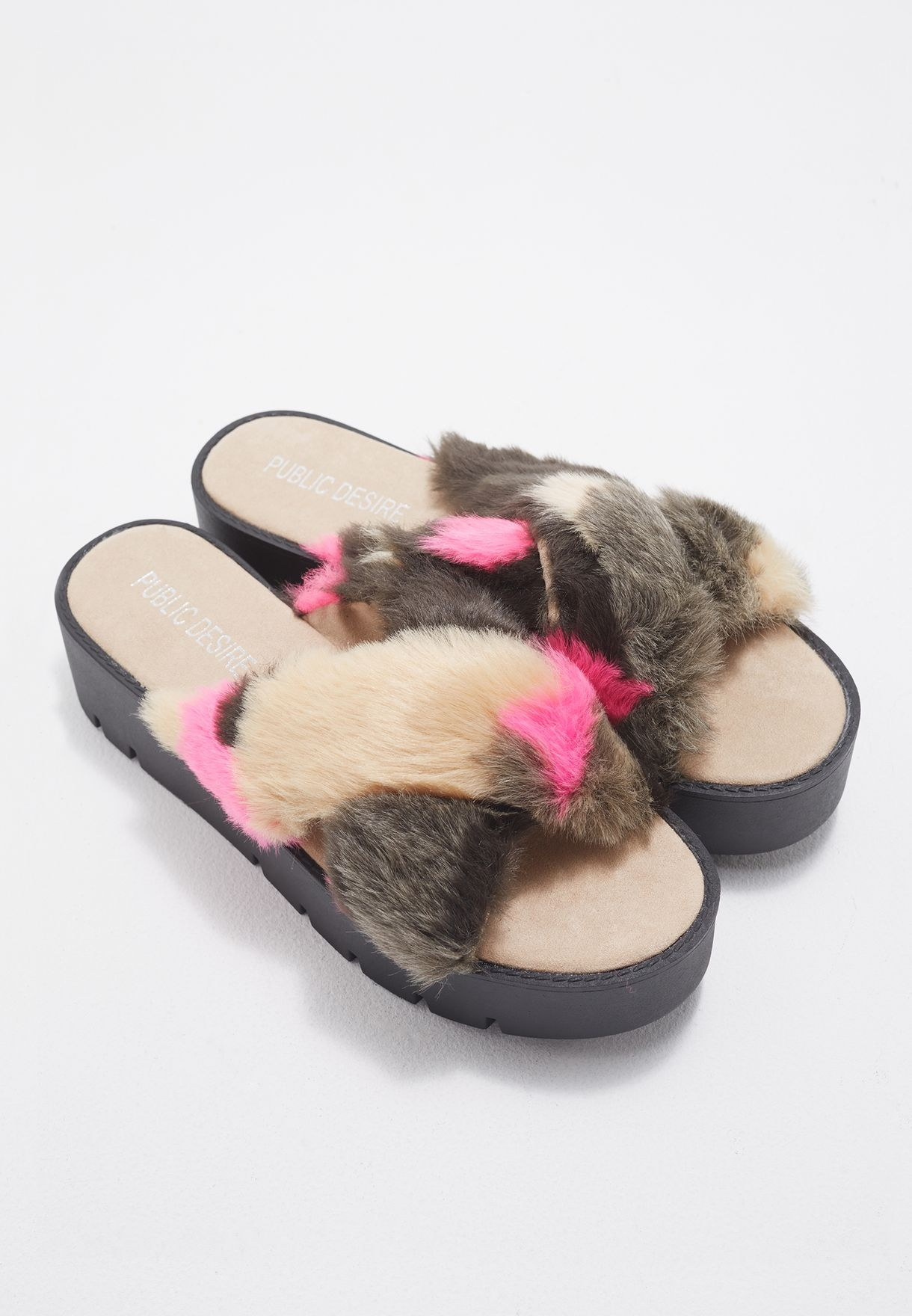 16c719afc676b Shop Public Desire pink Kia Faux Fur Flatforms KIA for Women in ...