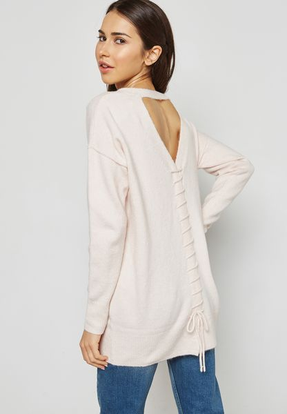 Longline Lace Up Back Sweater