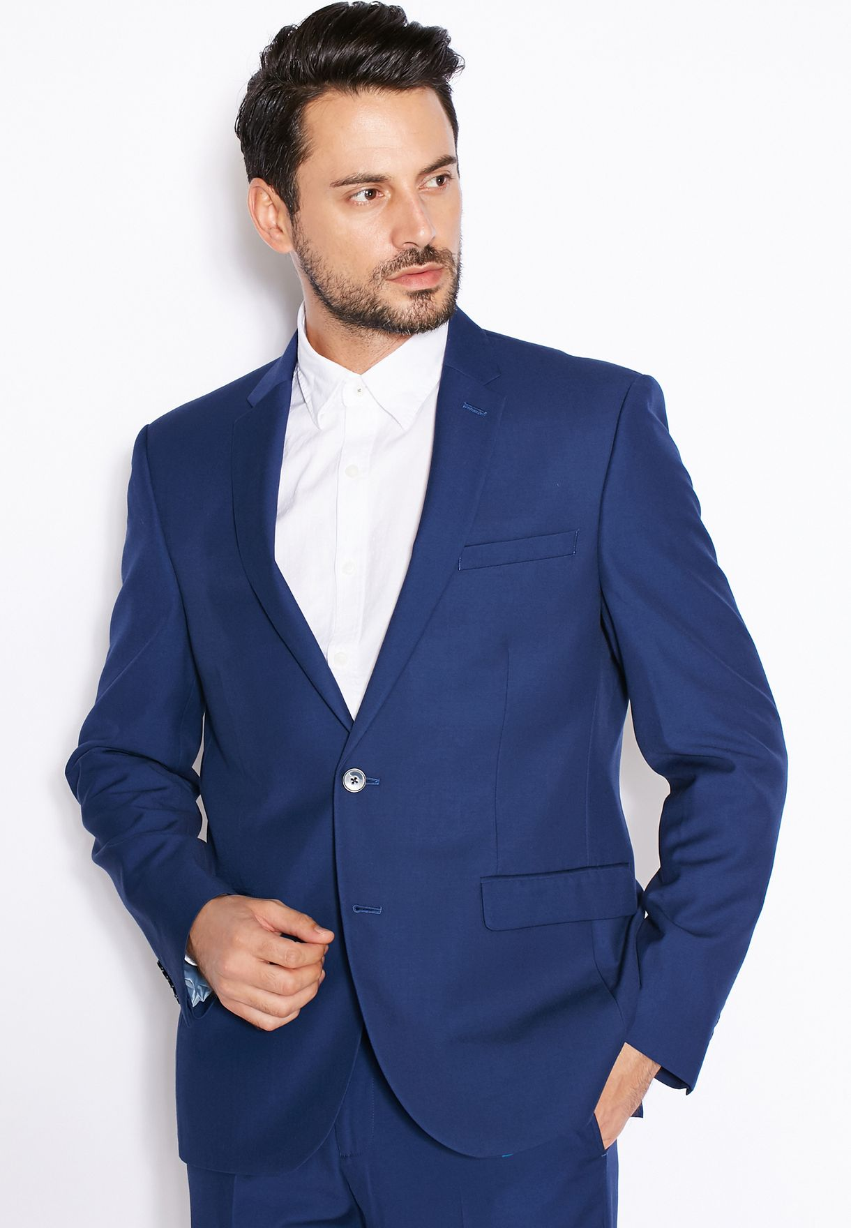 f3af4e04b4c0 Shop Burton blue Essential Navy Slim Fit Suit Jacket 02S05HBLU for ...