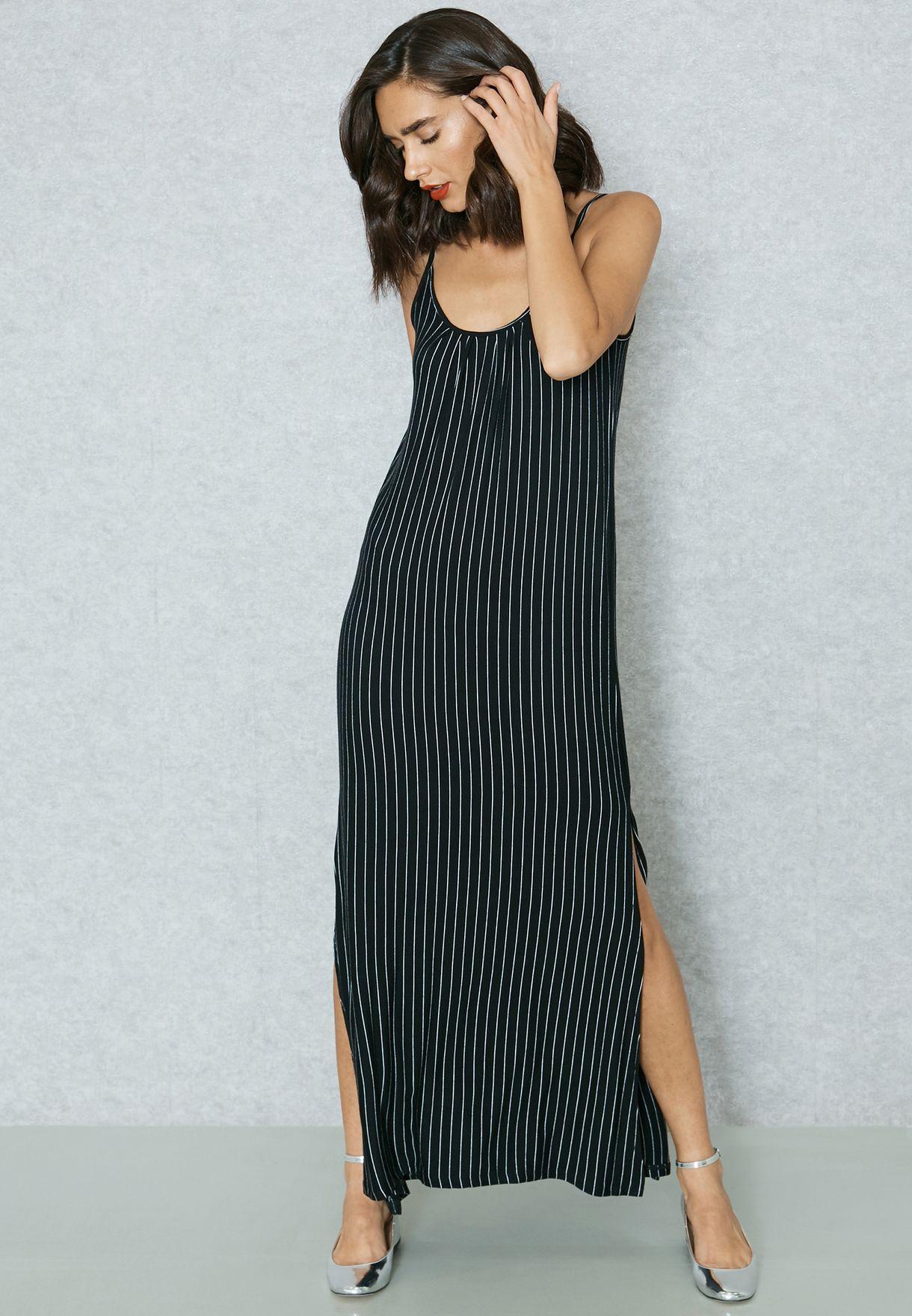 2a7ff84456747e Shop Mango black Striped Cami Dress 83077576 for Women in Bahrain ...