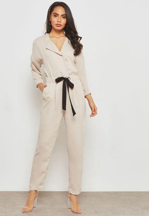 Tie Waist Long Sleeve Jumpsuit