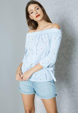 Polka Dot Tie Cuffed Bardot Shirt