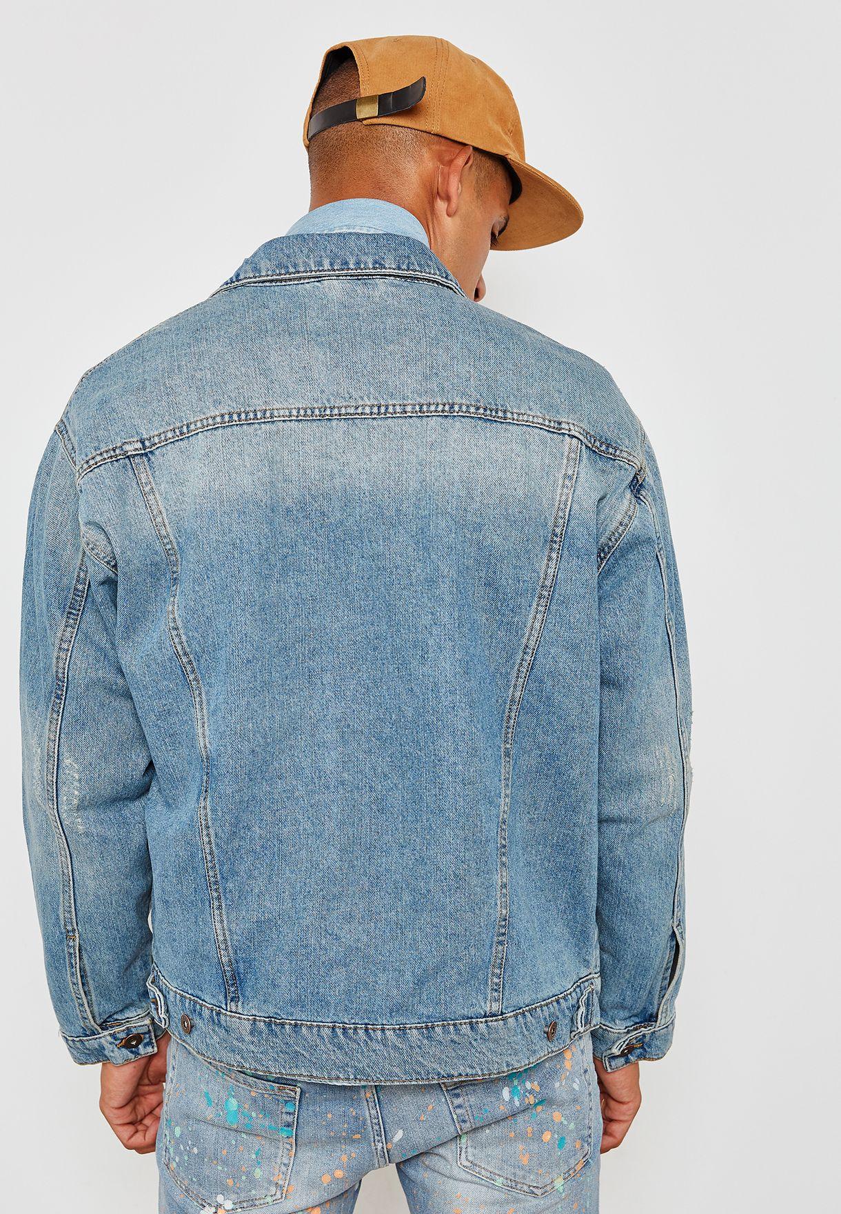 cef68cd13e2 Shop Topman blue Emilio Oversize Denim Jacket 64P30QBLE for Men in ...