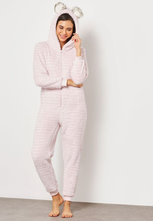 Pom Pom Fleece Striped Onesie