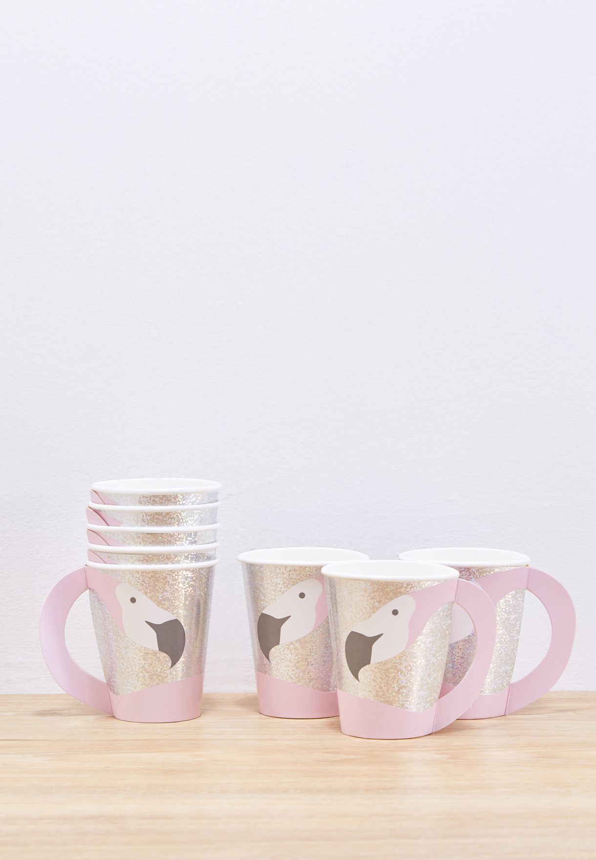 8 Flamingo Shaped Paper Cups