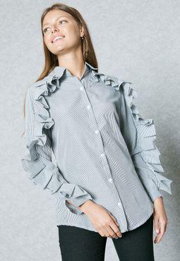 Striped Ruffle Paneled Shirt