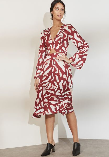 Flute Sleeve Cut Out Printed Dress