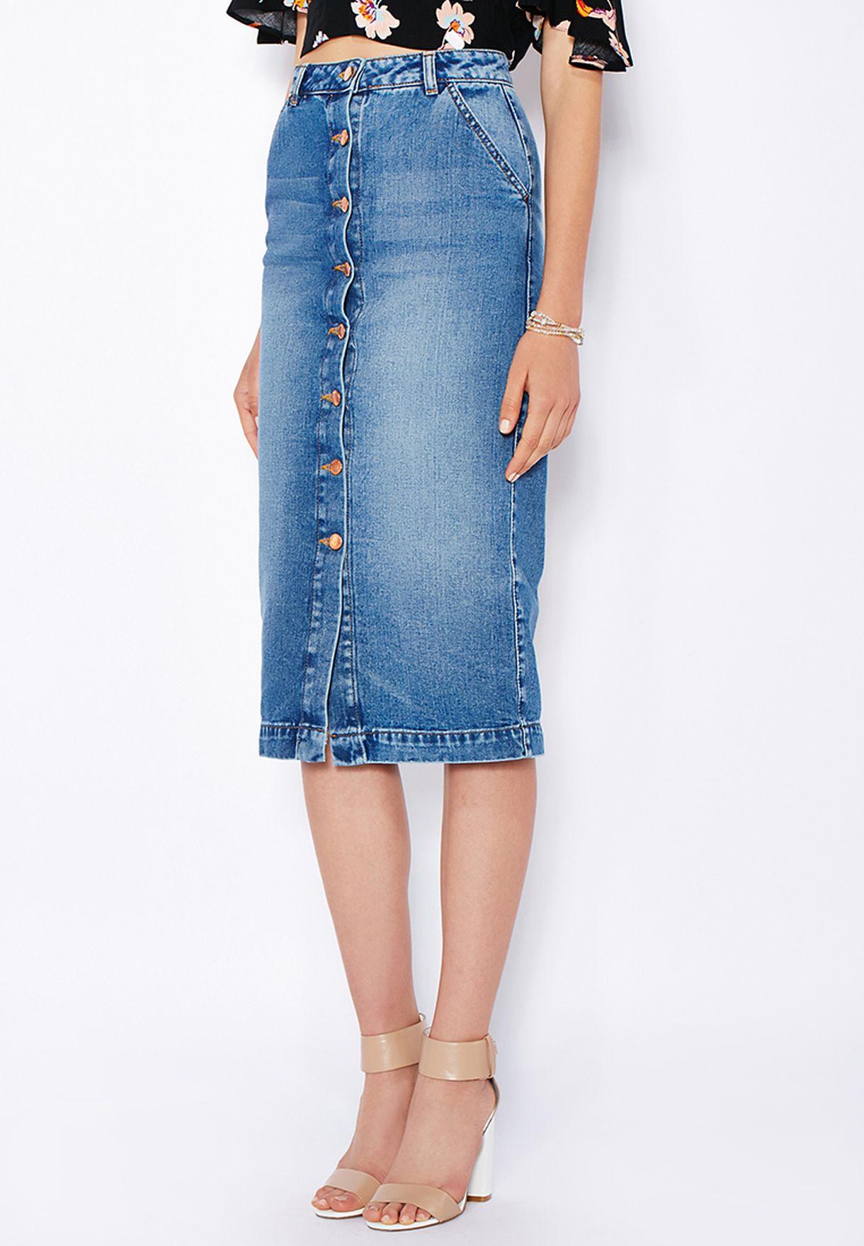db4d51d1abb4 Shop Miss Selfridge blue Button Down Denim Midi Skirt 11K10QMDT for ...