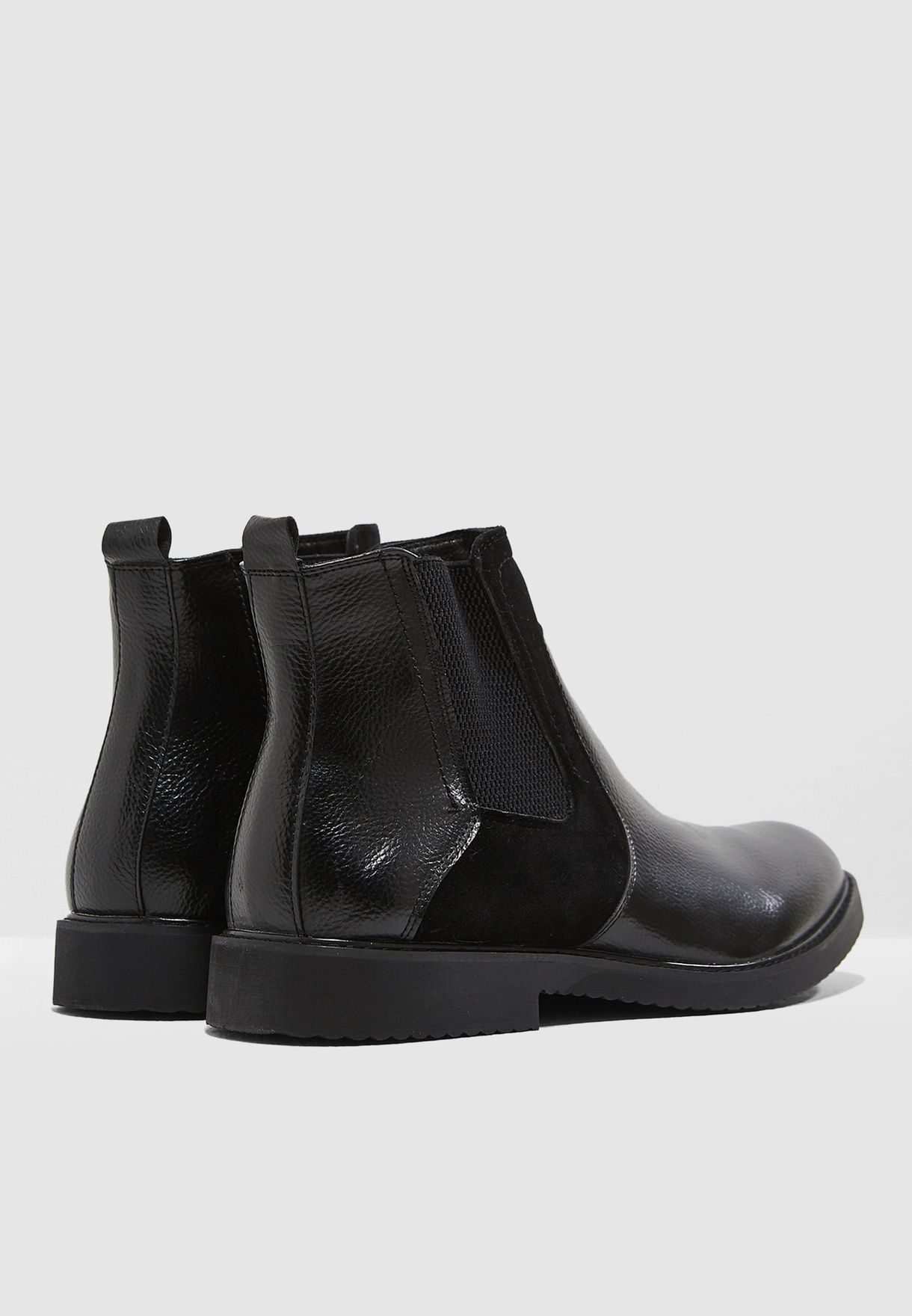 Faux Suede and Leather Chelsea Boots