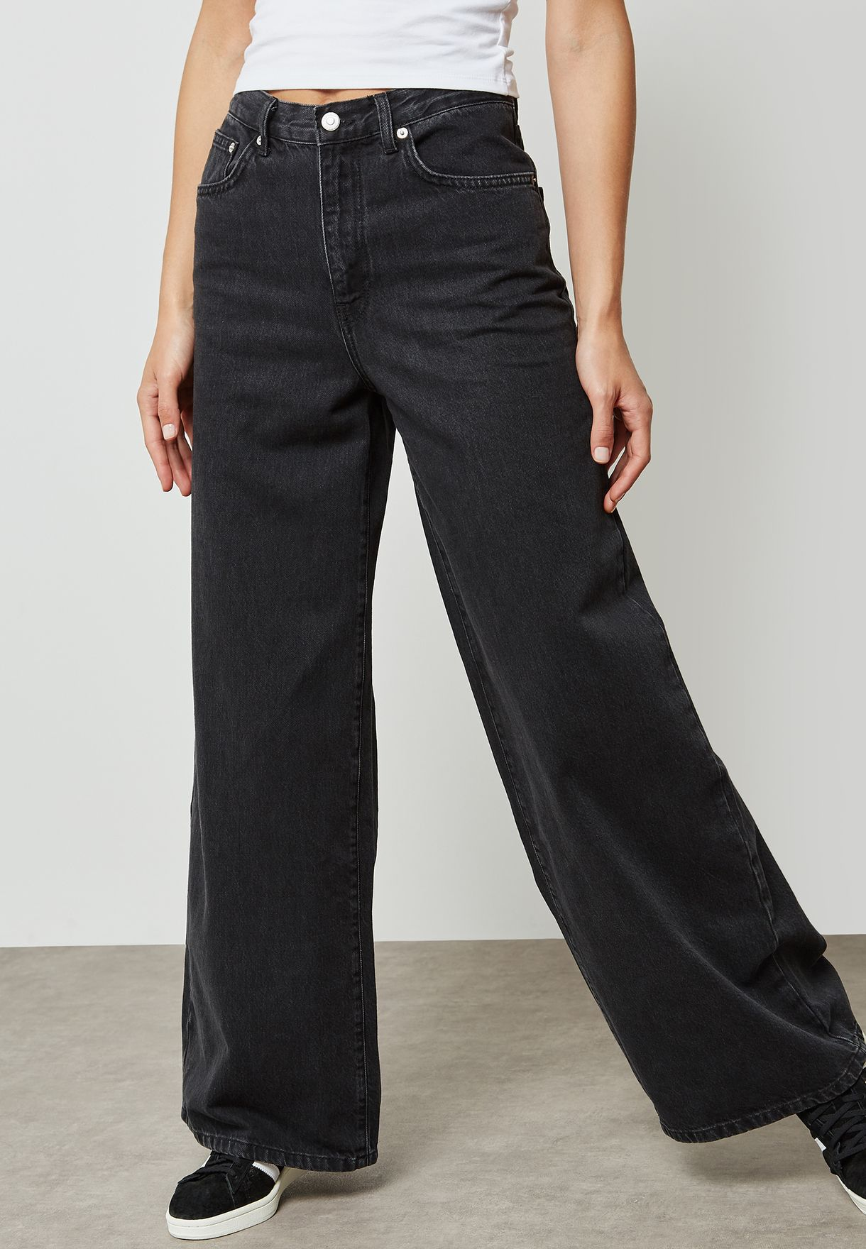 3618ae946fd Shop Topshop black MOTO Wide Leg High Rise Jeans 02C07NWBK ...