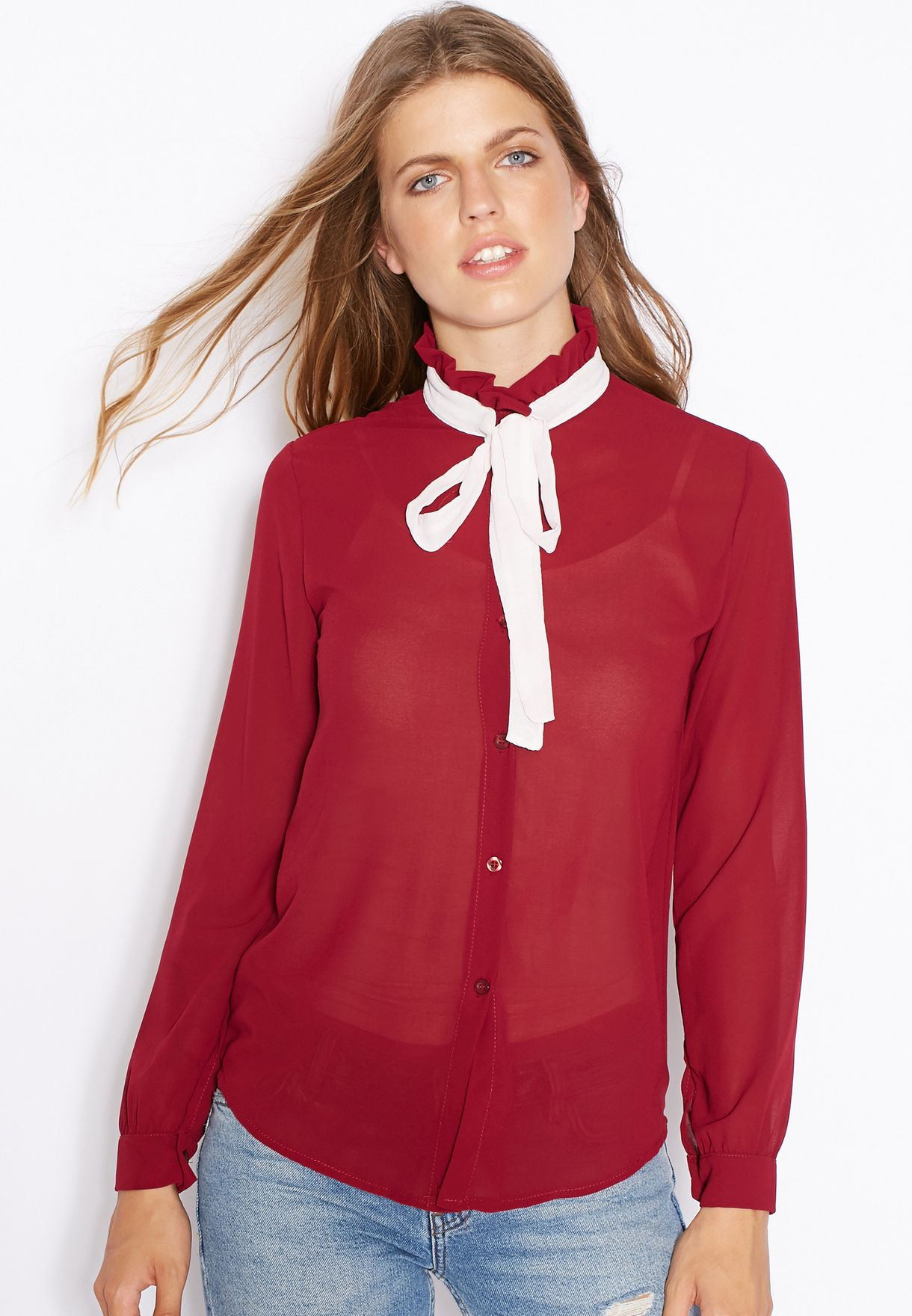4140eed4f2750b Shop Ella red Sheer Contrast Tie Neck Shirt for Women in Qatar ...