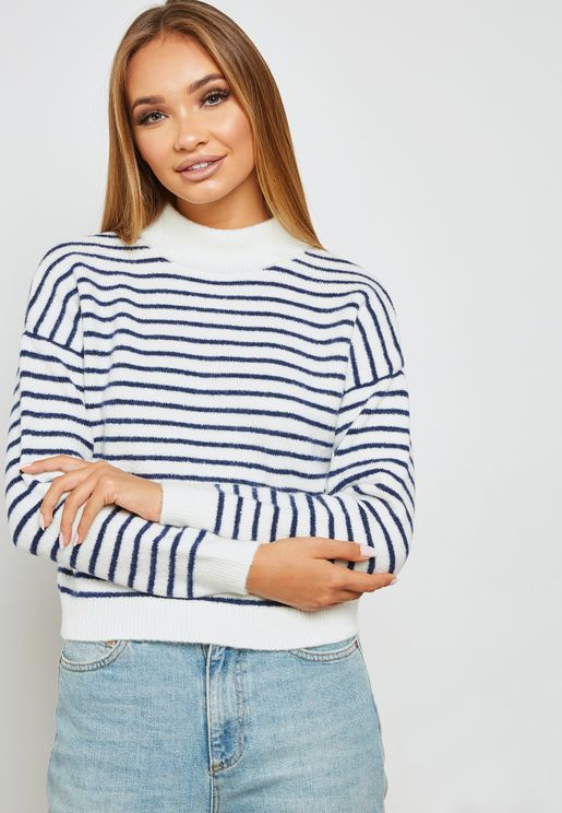 Striped Funnel Neck Sweater