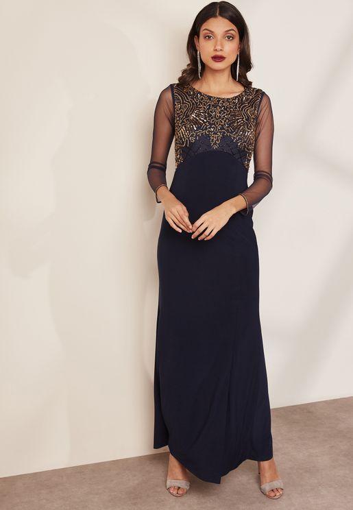 Side Split Embellished Maxi Dress