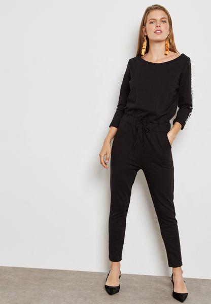 Metallic Side Sleeve Jumpsuit