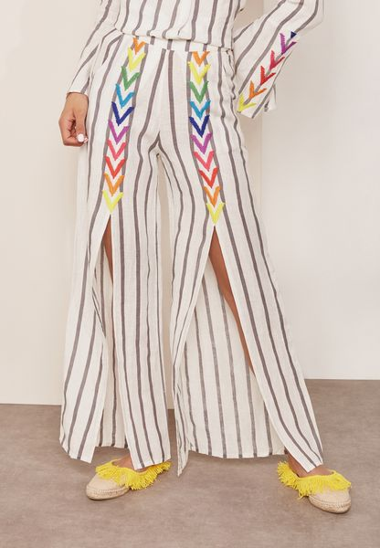 Embroidered Striped Wide Leg Pants