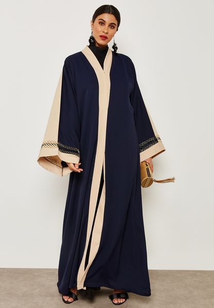 Colourblock Hand Work Abaya