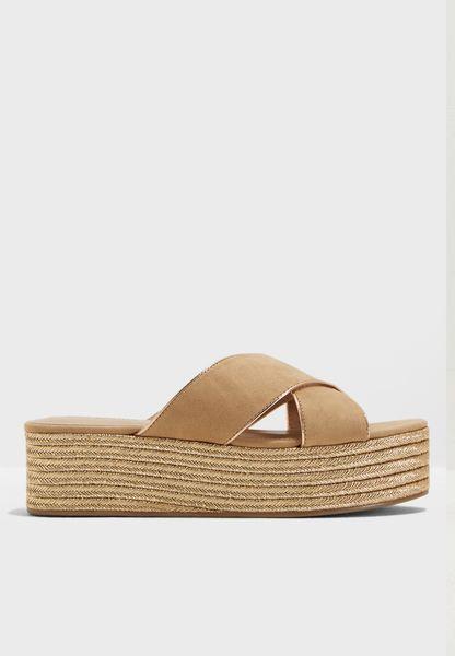 Cross Strap Flatform Wedge Sandal