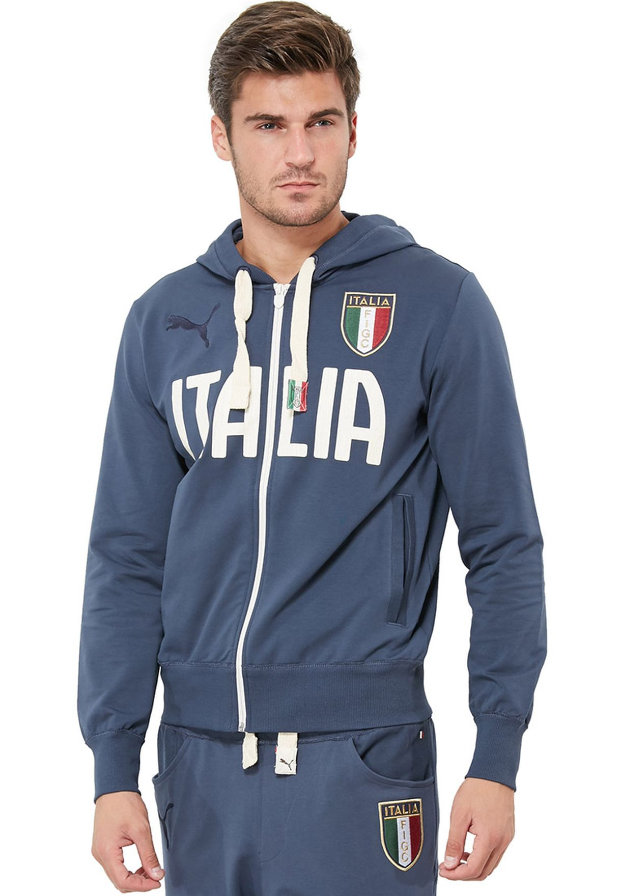 1420af0dff82 Shop PUMA navy FIGC Italia Zip Through Hoodie 746496031 for Men in ...