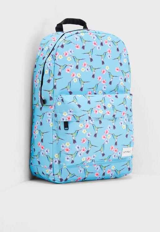 Hummingbird Printed Backpack