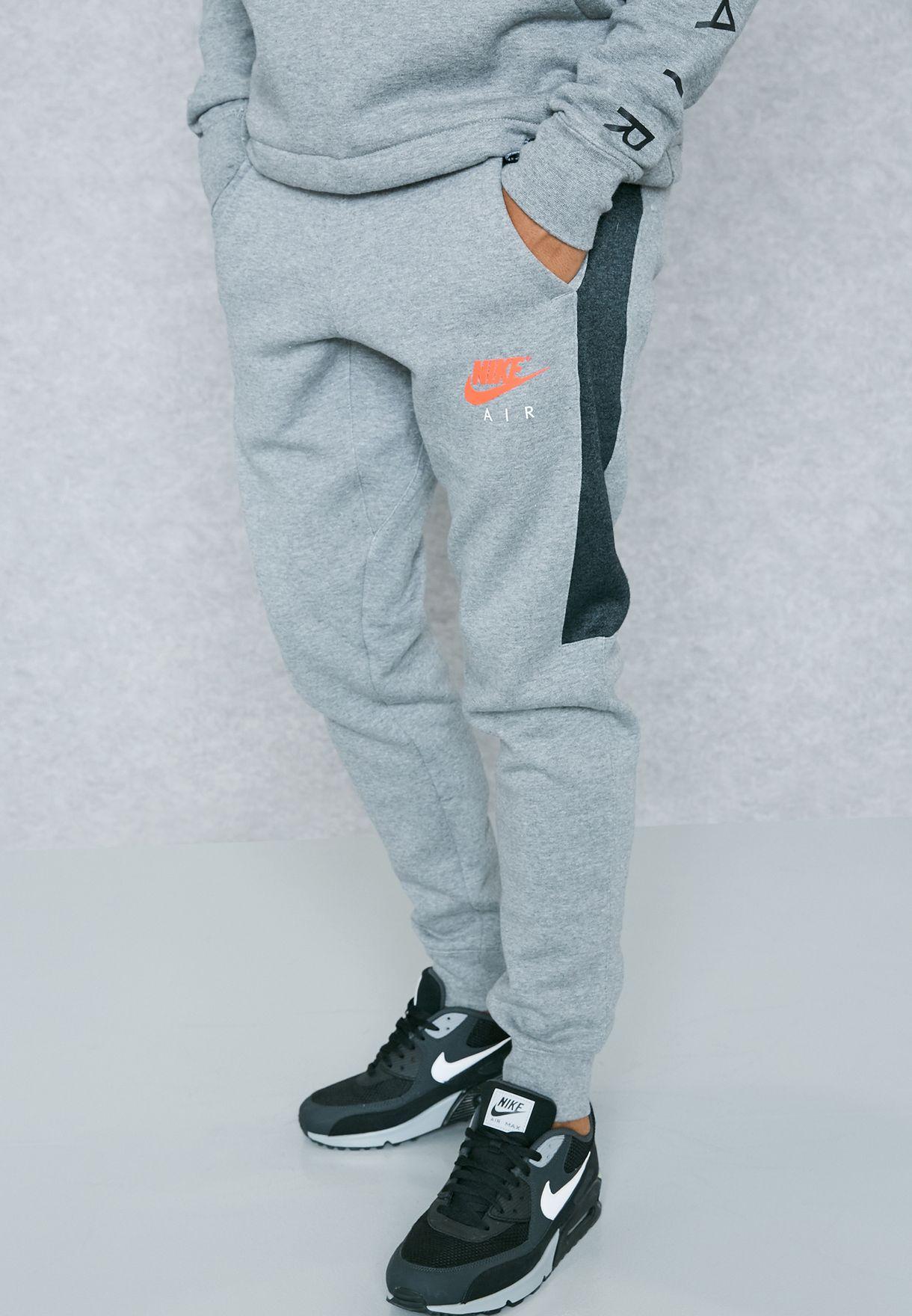 eaa8dc70c Shop Nike grey Air Fleece Joggers 861626-091 for Men in UAE ...