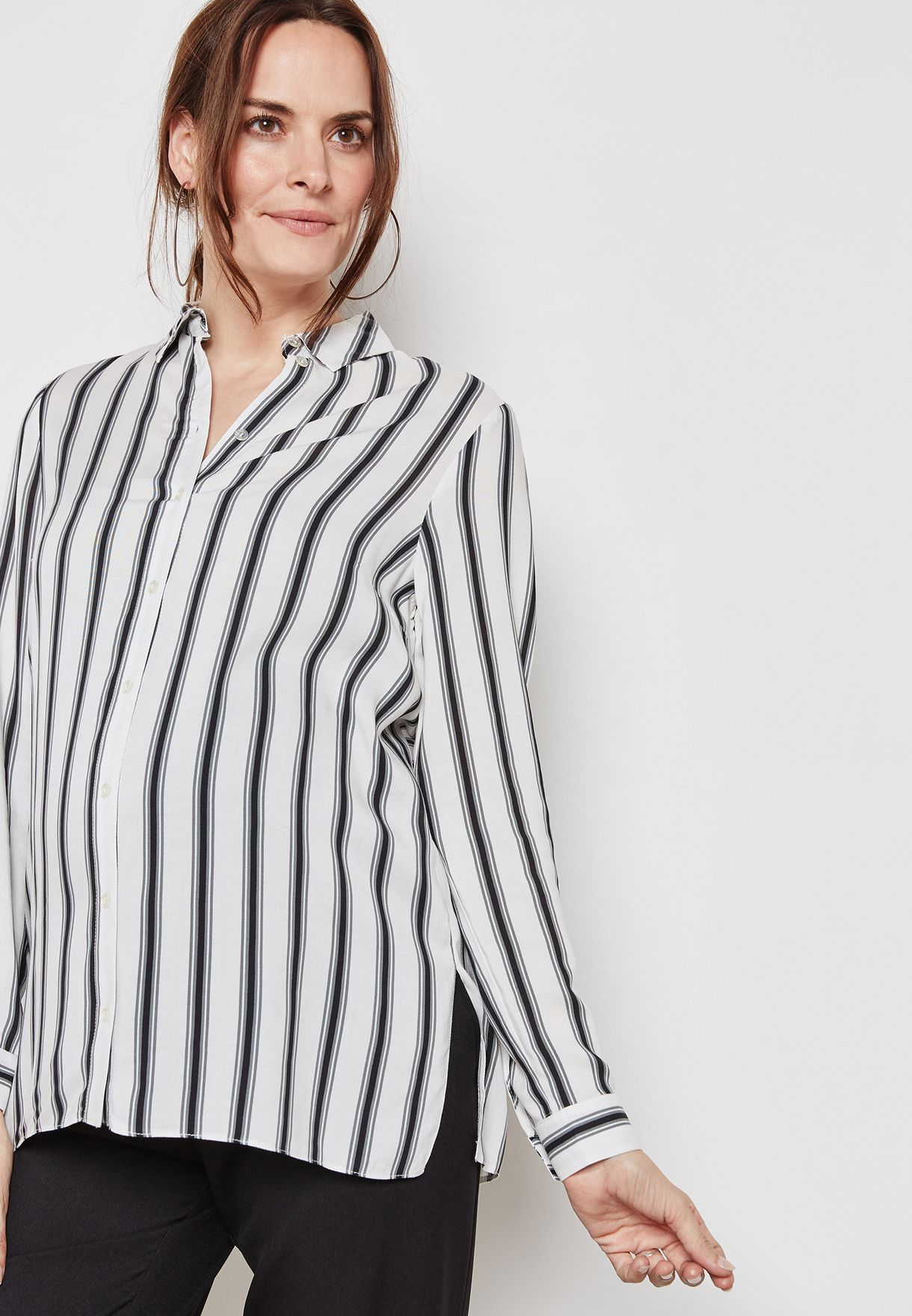 f78db40819ab06 Shop New Look Maternity stripes Striped Shirt 5631066 for Women in ...
