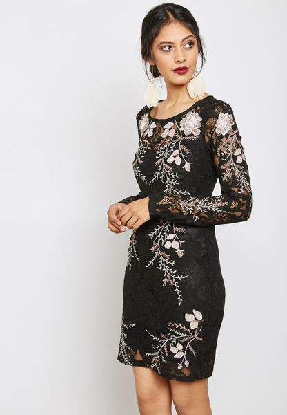 Floral Applique Lace Dress