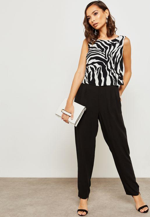 Overlay Zebra Print Jumpsuit