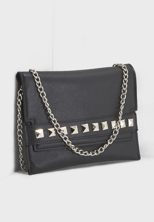 Stud Chain Flat Belt Bag