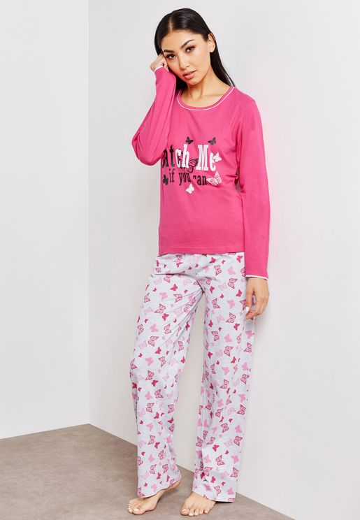 Crew Neck Slogan Top Printed Pyjama Set
