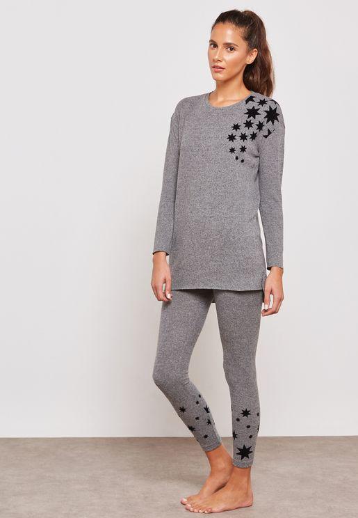 Shoulder Print Pyjama Set