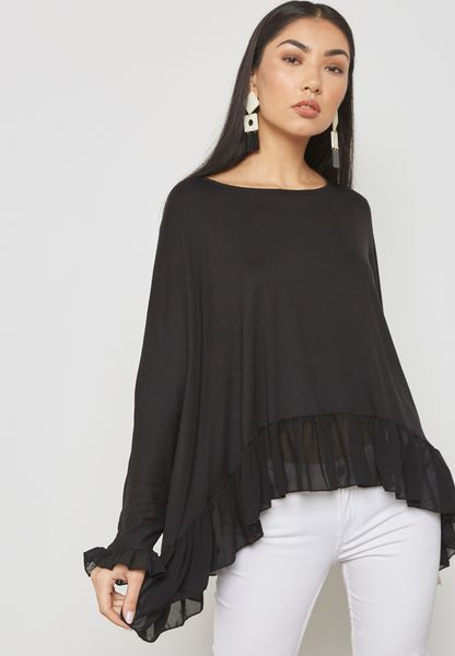 Ruffle Trim Oversized Top