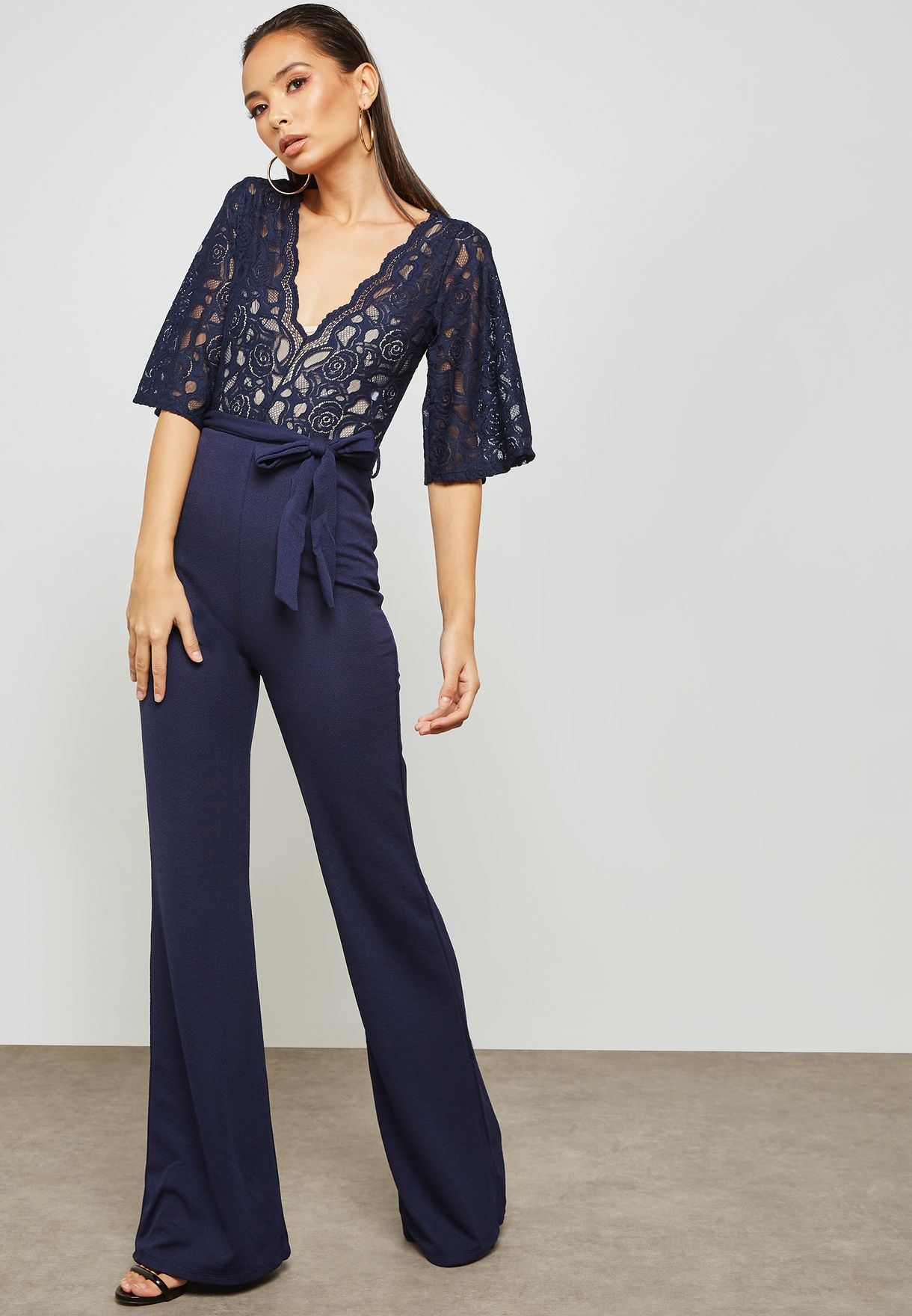 547efada0be0 Shop Missguided navy Lace Plunge Jumpsuit M9904228 for Women in UAE ...
