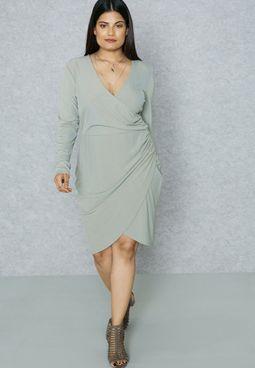 Ribbed Wrap Plunge Dress